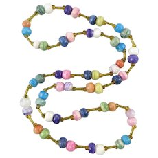 Multi Color Alabaster Bead Necklace