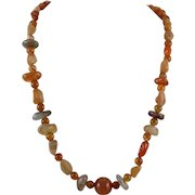 Carnelian Agate Mixed Bead Necklace
