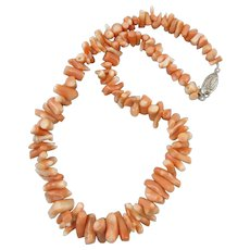 Chunky Polished Salmon Pink Branch Coral Necklace