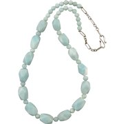 Faceted Amazonite Bead Necklace Sterling Silver Clasp
