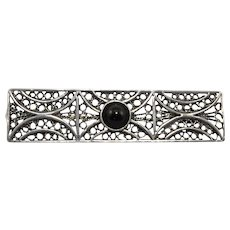 Sterling Silver Filigree and Black Onyx Brooch