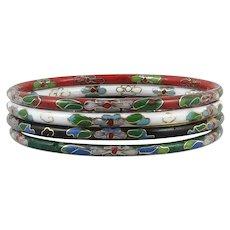 Set of 4 Chinese Cloisonne Enamel Bangle Bracelets