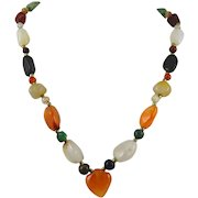 Rustic Mixed Agate Bead Carnelian Heart Necklace