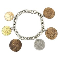 1940s Coro Coin Charm Bracelet