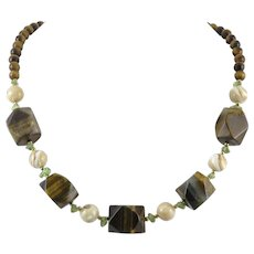 Tiger Eye Agate Peridot and Shell Bead Necklace