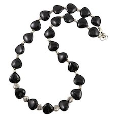 Heart Shaped Black Onyx and Sterling Silver Necklace