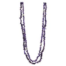 2 Long Strands of Amethyst Chip Necklaces with Sterling Accents