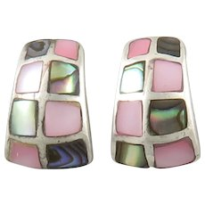 Mother of Pearl and Abalone Sterling Silver Earrings