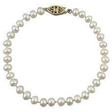 Cultured Freshwater Pearl Bracelet 14K GF Clasp