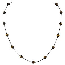 Tiger Eye Agate and Sterling Silver Station Necklace