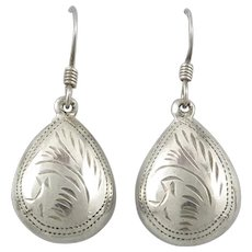Hand Chased Puffy Drop Sterling Silver Earrings