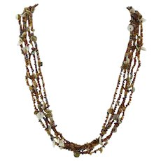 5 Strand Woven Glass Seed Bead and Shell Necklace