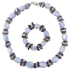 Blue Lace Agate Peridot Amethyst and Rock Crystal Necklace and Bracelet Set