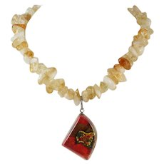 Citrine Polished Nugget Bead and Dichroic Glass Pendant Necklace