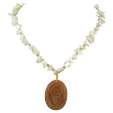 Carved Peach Aventurine Rose and Mother of Pearl Necklace