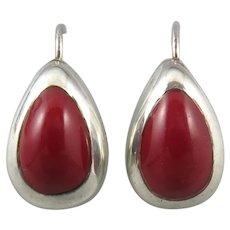 Red Jasper and Sterling SIlver Teardrop Earrings
