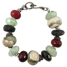 Chunky Mixed Gemstone Faceted Bead Bracelet