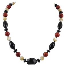 Red Sponge Coral, Mother of Pearl and Black Onyx Necklace