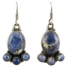Blue Sodalite and Sterling Silver Earrings