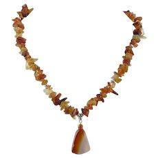 Polished Carnelian Chip Pendant Necklace