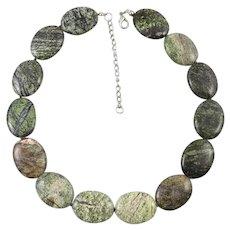 Flat Oval Green Jasper Bead Necklace