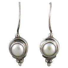 Cultured Pearl and Sterling Silver Earrings