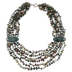 Indian Agate 6 Strand Polished Nugget Necklace