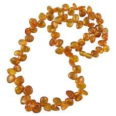 Baltic Honey Amber Teardrop Bead Necklace