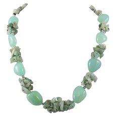 Chunky Aqua Chalcedony Mixed Bead Necklace