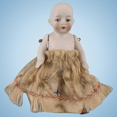 """Antique All Bisque 3-1/2"""" German Doll Marked 620"""