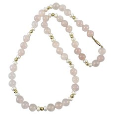 14K Gold Fill Rose Quartz and Cultured Pearl Necklace
