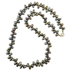 Gray Purple Cultured Freshwater Peacock Pearl Necklace
