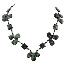 Deep Green Jasper Bead Necklace