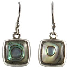 Square Abalone and Sterling Silver Dangle Earrings