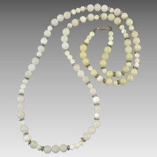 Rose Quartz, Mother of Pearl and Beige Quartz Bead Necklace