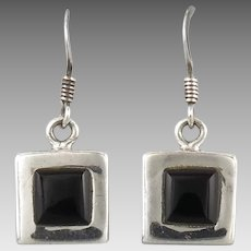 Sterling and Black Onyx Square Dangle Earrings