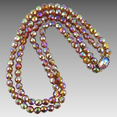 2 Strand Aurora Borealis Glass Bead Necklace with Matching Clasp