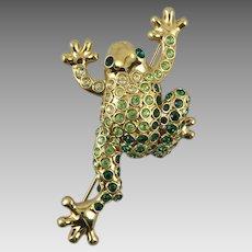 Rhinestone Frog Brooch by Monet