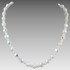White Aurora Borealis Glass Bead Necklace