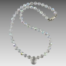 Aurora Borealis Glass Bead Necklace with Crystal Pendant