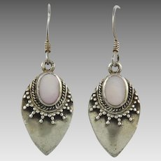Mother of Pearl and Sterling Silver Tribal Style Earrings