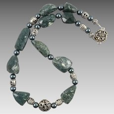 Chunky Seraphinite Free Form Faceted Bead Necklace