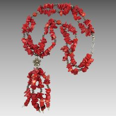 Chunky Red Coral Tassel Necklace