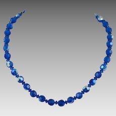 Blue Aurora Borealis Glass Bead Necklace