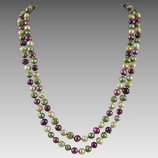 Long Strand Multi Color Cultured Pearl Necklace