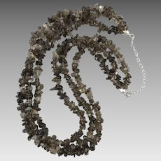 3 Strand Smoky Quartz Polished Nugget Necklace