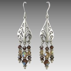 Sterling Silver with Glass Bead Dangle Fringe Earrings