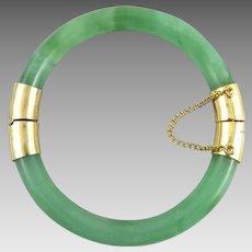 Green Glass Hinged Bangle Bracelet
