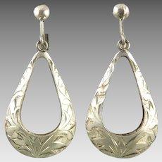 Vintage Chased Silver Teardrop Hoops Screw Back Style