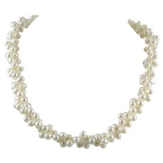 Twisted 2 Strand Cultured Pearl Necklace